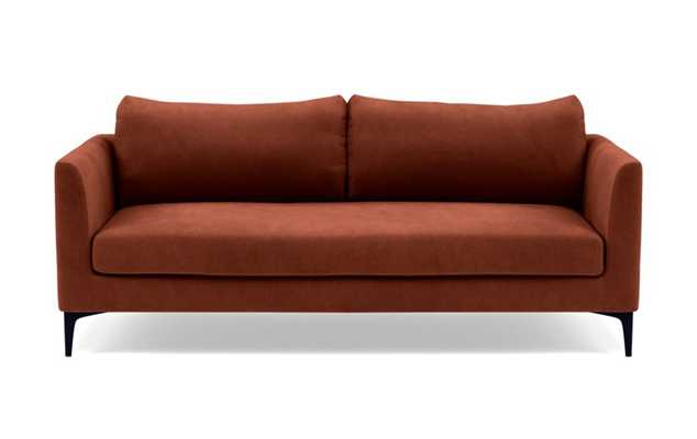 Owens Loveseats with Red Rust Fabric, standard down blend cushions, and Matte Black legs - Interior Define