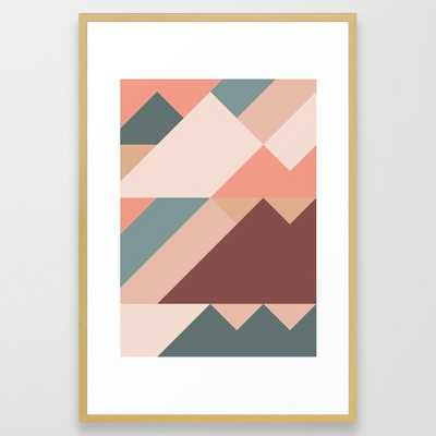 Geometric Mountains 01 Framed Art Print by The Old Art Studio - Conservation Natural - LARGE (Gallery)-26x38 - Society6