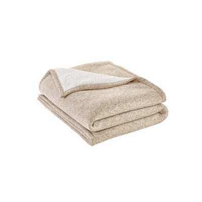 StyleWell Oversized Sweater Knit Khaki Sherpa Throw Blanket, Green - Home Depot