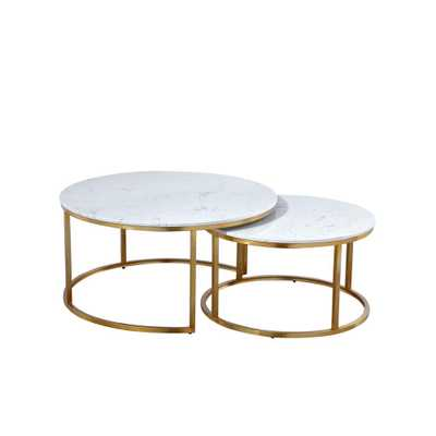Boyel Living 17.55 in. Gold Round Nesting Coffee Table with Marble Top (Set of 2) - Home Depot