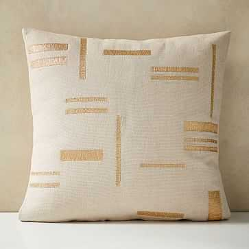 "Embroidered Metallic Blocks Pillow Cover, 24""x24"", Belgian Flax - West Elm"