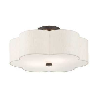 3 - Light 15'' Shaded Semi Flush Mount - Wayfair