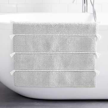 "Organic Tassel Stripe Bath Mat, 20""x34"", Gray Sky - West Elm"