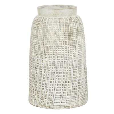 White Terracotta Coastal Style Vase, 11 X 7 X 7 - Wayfair