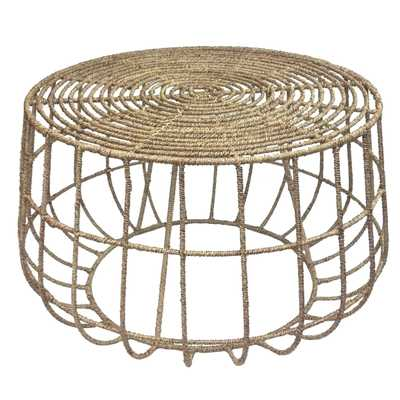 Luisa Coastal Beach Natural Brown Jute Rope Wrapped Outdoor Coffee Table - Kathy Kuo Home