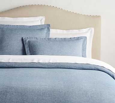 Belgian Flax Linen Duvet Cover, Full/Queen, Blue Chambray - Pottery Barn