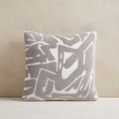 "Abstract Velvet Applique Pillow Cover, 18""x18"", Pearl Gray - West Elm"