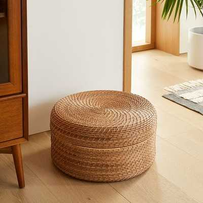 Modern Weave Basket, Round Lidded, Large, Natural - West Elm