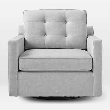 Drake Mid-Century Motion Chair, Poly, Twill, Wheat, Swivel Base - West Elm
