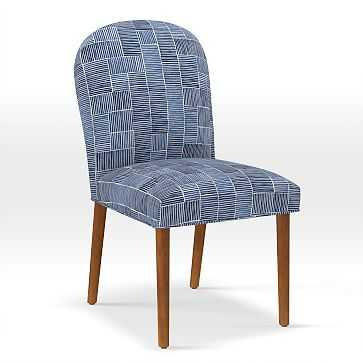 Round Back Dining Chair, Watercolor Stripe, Midnight - West Elm