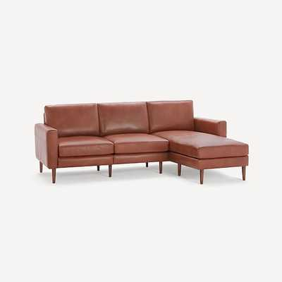 Nomad Block Leather Sofa with Chaise, Leather, Chestnut, Walnut Wood - West Elm