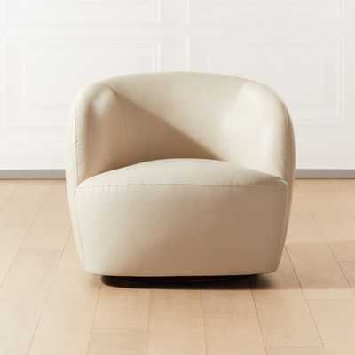 Gwyneth Ivory Leather Chair - CB2
