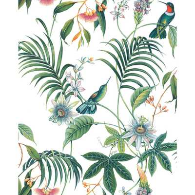 Superfresco Easy Adilah White Tropical Floral Removable Wallpaper Sample, Purple - Home Depot