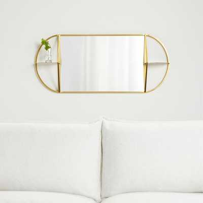 Prescott Oval Mirror with Shelves - Crate and Barrel