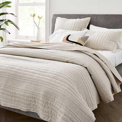 Belgian Flax Linen Linework Quilt & Standard Sham, Natural Flax, Full/Queen - West Elm