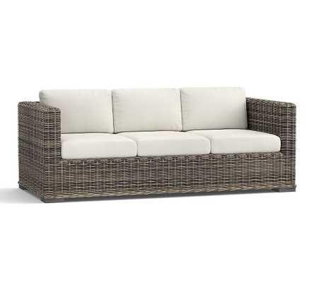 Huntington Square Arm Sofa Slipcover, Sunbrella(R) Solid; Thatch Charcoal - Pottery Barn