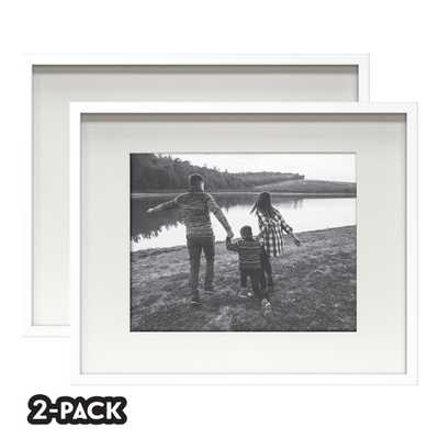 NONE Classic Gallery Double Pack White Frame 16 in. x 20 in. Mat to 11 in. x 14 in. - Home Depot