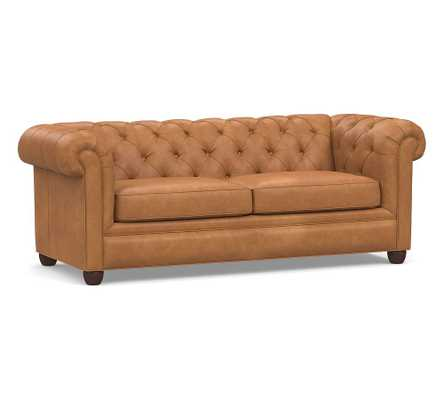 Chesterfield Roll Arm Leather Sofa, Polyester Wrapped Cushions, Churchfield Camel - Pottery Barn