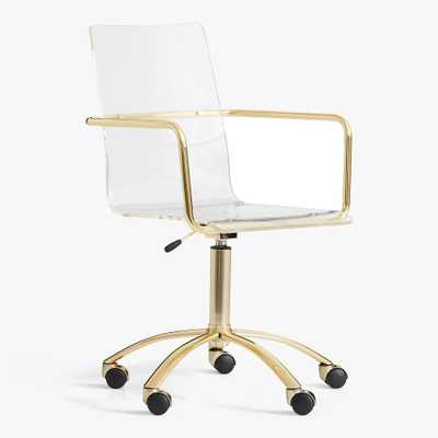 Gold Paige Acrylic Swivel Desk Chair, In-Home Delivery - Pottery Barn Teen