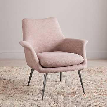 Finley Flare Chair, Poly, Distressed Velvet, Light Pink, Burnished Bronze - West Elm