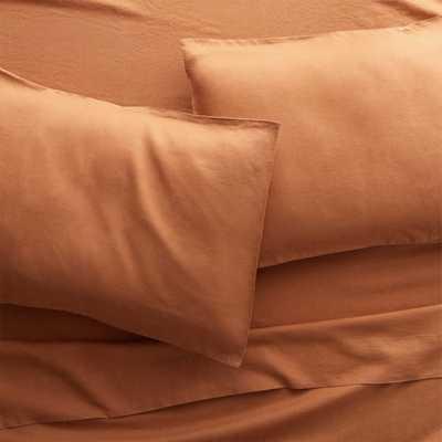 Linen Copper King Sheet Set - CB2