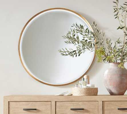 "Layne Round Wall Mirror, Brass - 36"" - Pottery Barn"