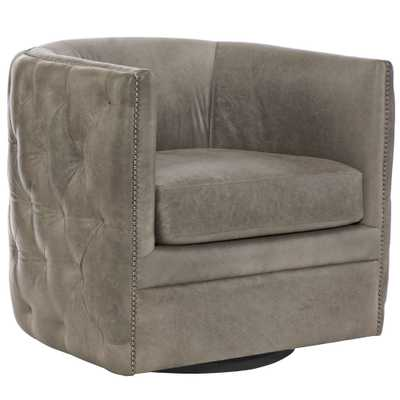 Brandon French Country Grey Leather Tufted Swivel Chair - Kathy Kuo Home