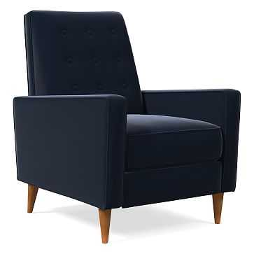 Rhys MidCentury Recliner, Poly, Astor Velvet, Ink Blue, Pecan - West Elm