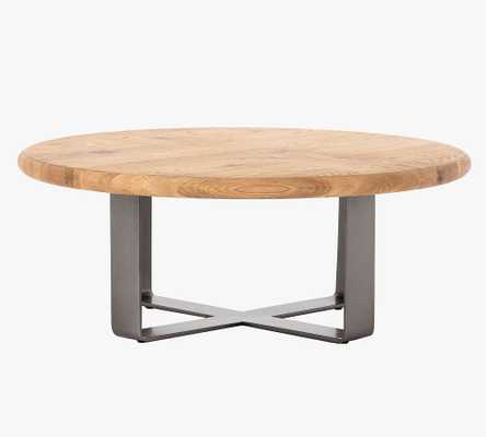 Joaquin Round Coffee Table, Gunmetal & Natural Oak - Pottery Barn