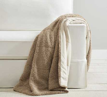 """Sport Luxe Reversible Throw, 60 x 80"""", Neutral/Sand - Pottery Barn"""