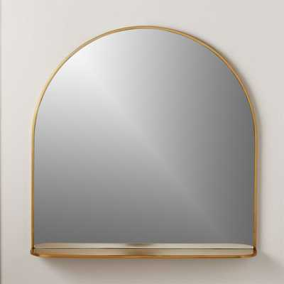 Brass Arched Mirror with Shelf - CB2