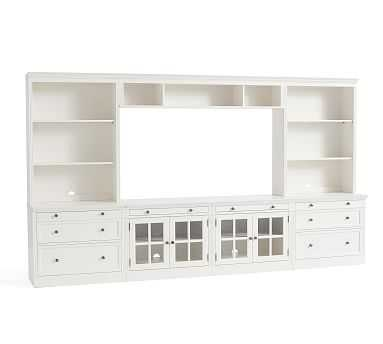 """Livingston 7-Piece Entertainment Center With Drawers, Montauk White, 140"""" - Pottery Barn"""