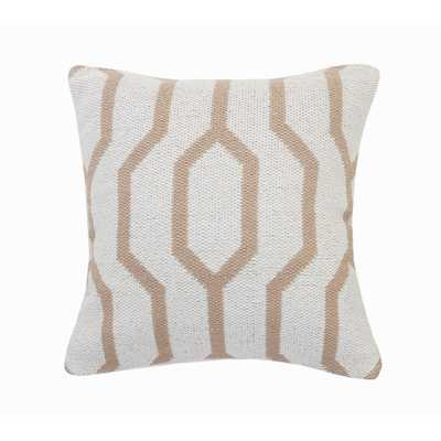 LR Home Vibe Beige / White Geometric Cozy Poly-fill 20 in. x 20 in. Throw Pillow - Home Depot