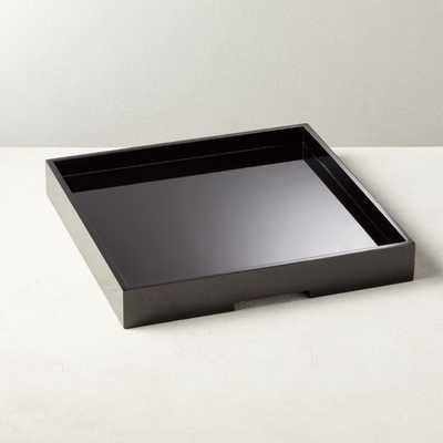 Hi-Gloss Large Black Square Tray - CB2