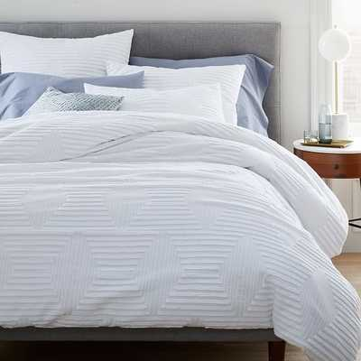 Organic Cotton Clipped Jacquard Diamond Duvet & Standard Sham, Stone White, Full/Queen - West Elm