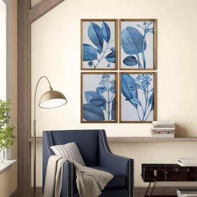 Blue Botanical - 4 Piece Picture Frame Drawing Print Set on Paper - Birch Lane