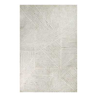 Maverick Geometric Washable Wool Rug, 5.5X8, Almond - Pottery Barn Teen