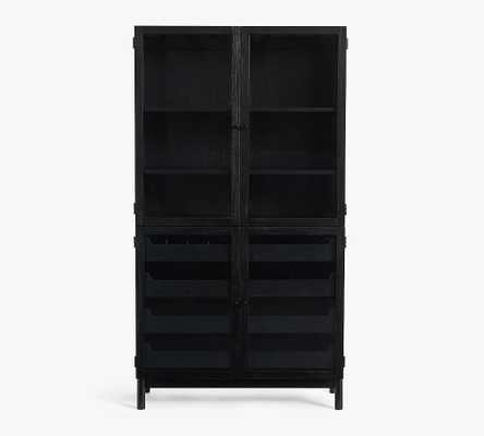 "Haven 38"" Wood Buffet & Hutch, Black - Pottery Barn"