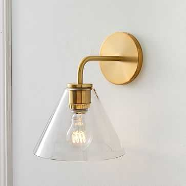 "Sculptural Sconce, Cone, 8"", Clear, Antique Brass - West Elm"