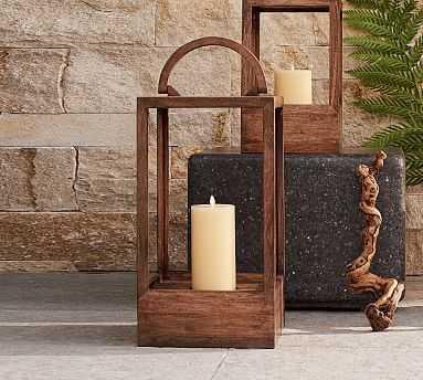 Decker Mango Wood Lantern, Large - Pottery Barn