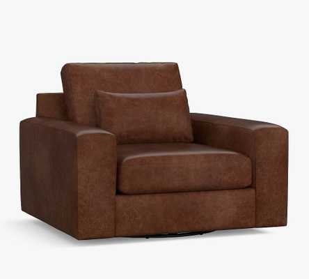 Big Sur Square Arm Leather Deep Seat Swivel Armchair, Polyester Wrapped Cushions, Statesville Molasses - Pottery Barn