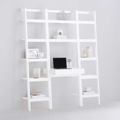 Sawyer White Leaning Desk with Two 18'' Bookcases - Crate and Barrel