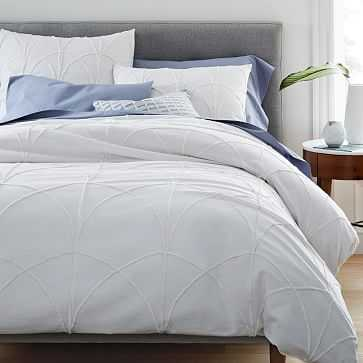 Chenille Applique Duvet, Full/Queen, Stone White - West Elm