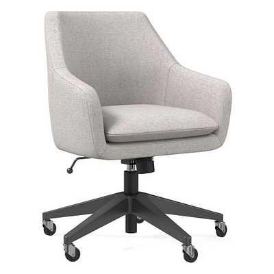 Helvetica Office Chair, Performance Coastal Linen, Pebble, Antique Bronze - West Elm