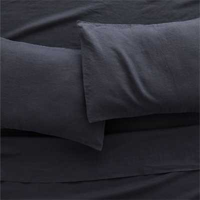 Linen Black King Pillowcases Set of 2 - CB2