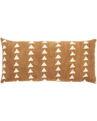 triangle mud cloth extra large lumbar pillow in amber MADE TO ORDER - PillowPia