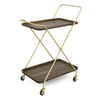 Nathan James Hallie Retro 2-Tray Brown Mid-Century with Brass Metal Finish Rolling Bar or Serving Cart - Home Depot