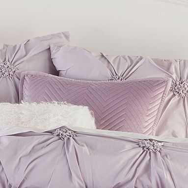 Luxe Velvet Pillow Cover and Insert, Dusty Iris - Pottery Barn Teen