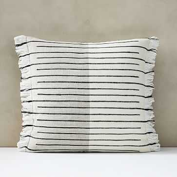 "Cotton Silk Broken Stripe Pillow Cover, Set of 2, 20""x20"", Stone White - West Elm"