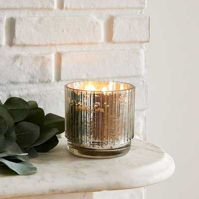 Mercury Glass Fluted Candles, Medium, Tinted Silver - West Elm